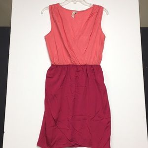 Coral and Dark Pink Wrap-Style Dress
